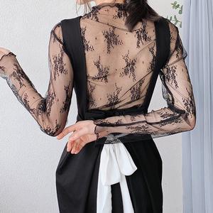 蕾丝打底衫女长袖2019秋季新款高领内搭超仙纱衣性感薄纱网纱上衣