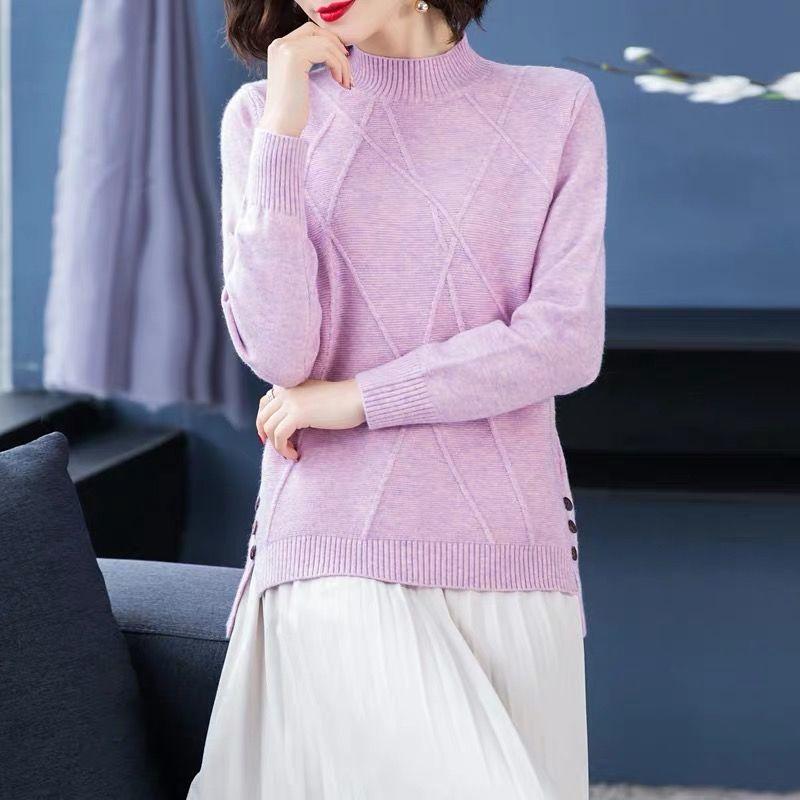 【优质】短款半高领加厚毛衣女秋冬季新款宽松韩版百搭针织打底衫