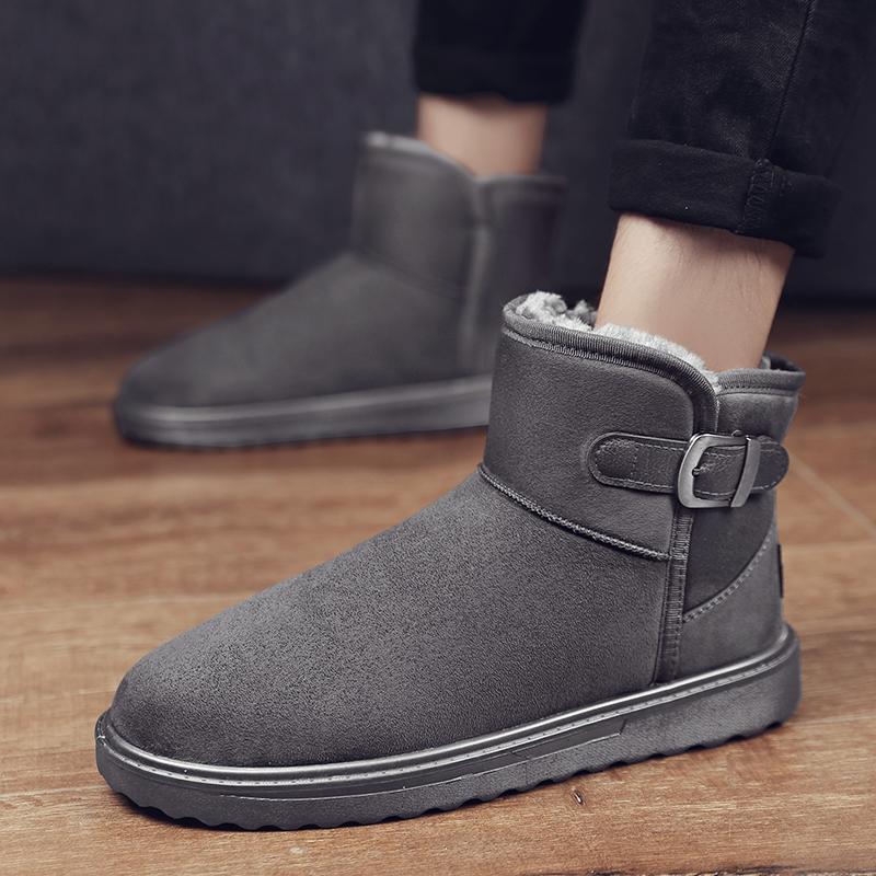 2020年新款雪地靴男士皮毛一体冬季加绒加厚保暖棉鞋居家面包鞋子