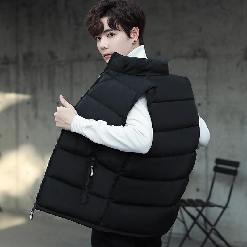 秋冬季男背心棉马甲新款黑色韩版
