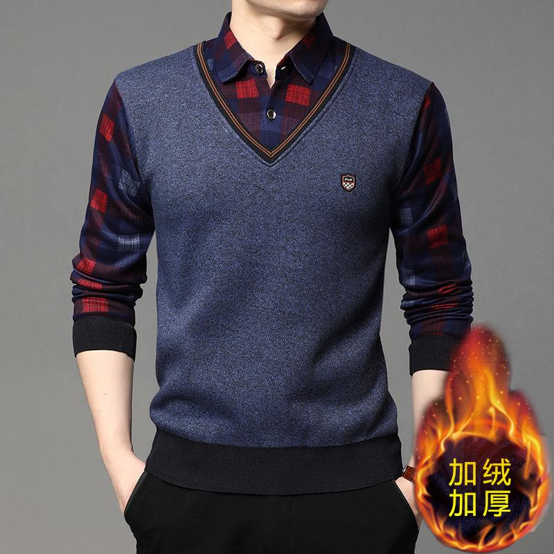 男士毛衣春秋新款衬衫领针织打底衫中年爸爸装上衣假两件套S