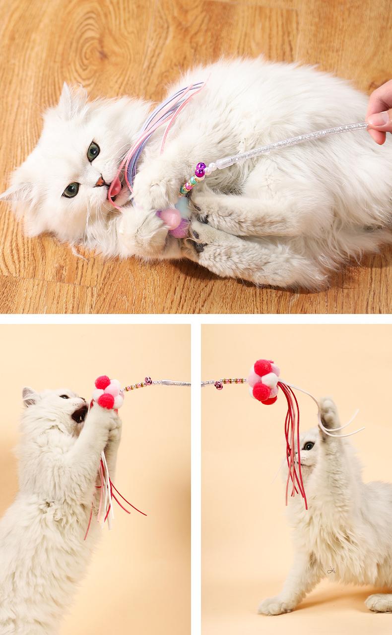 猫玩具逗猫棒耐咬羽毛铃铛长杆仙女斗猫棒小猫的自嗨神器猫咪用品详细照片