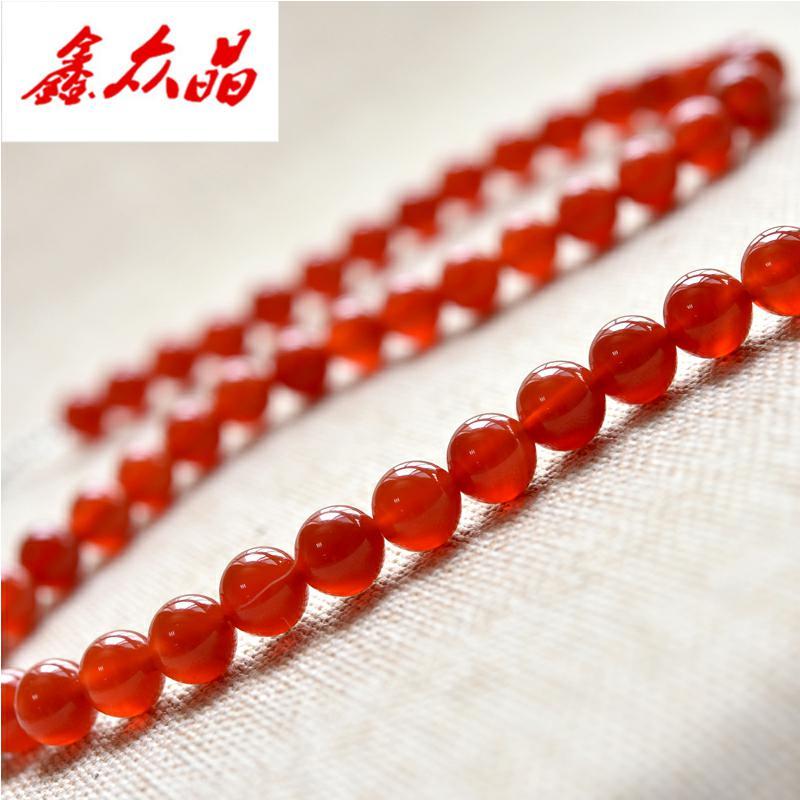 红玛瑙项链女 红色玛瑙珠子本命年毛衣链短款锁链水晶吊坠