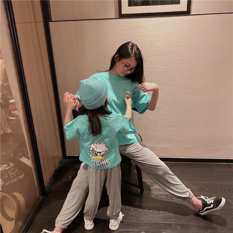 Trang phục cha mẹ nguyên bản 2020 xuân hè mới bé trai và bé gái dễ thương kiểu nước ngoài hoạt hình tay áo ngắn T - Trang phục dành cho cha mẹ và con