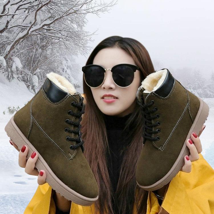网红爆款雪地靴女马丁靴女棉鞋平底学生时尚百搭款短靴加绒女靴子