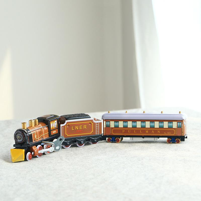 中国具发条道具蒸汽v发条火车80后童年的铁皮超长3节玩具火车经典