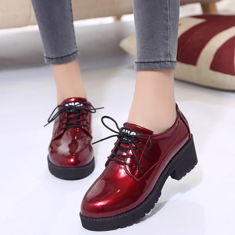 小皮鞋女2019秋冬季新款学生中跟鞋子系带单鞋粗跟百搭英伦风女鞋