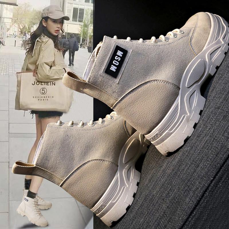 高帮帆布鞋女帖色2019秋季新款透气韩版马丁靴休闲潮英伦风女鞋