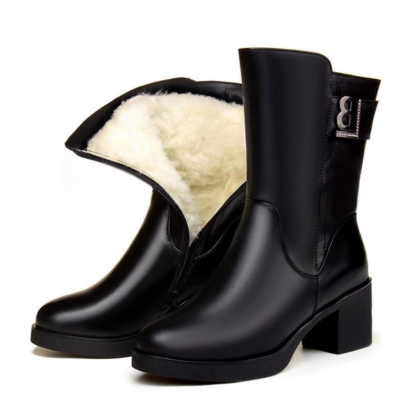 中筒靴加绒2019东北大棉鞋冬季加棉a棉鞋棉妈妈大码中跟女靴靴子鞋