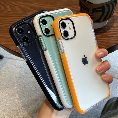 简约撞色边框壳8plus苹果11手机壳iphonex磨砂软壳XR硅胶透明全包边11promax个性xsmax网红i7男女款防摔7plus