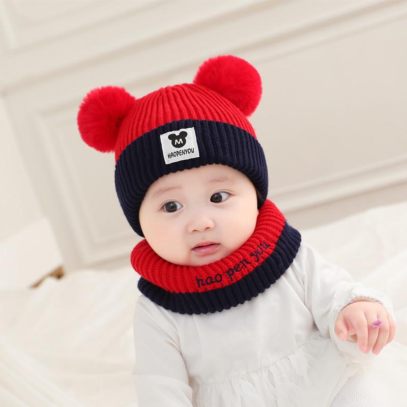 婴儿帽子秋冬男女宝宝毛线针织帽护耳