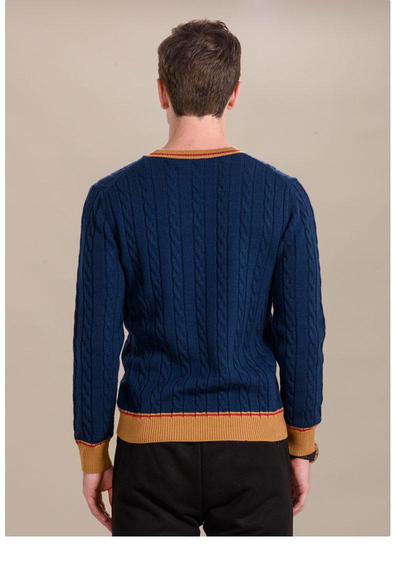Áo len mùa thu và mùa đông nam V-cổ thanh niên dày phần áo len mỏng giản dị - Kéo qua