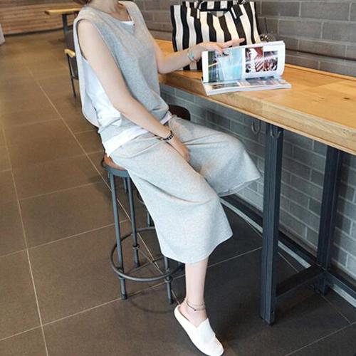 韩国代购东大门2019新款套装夏运动件套时尚高腰阔腿裤休闲两女装
