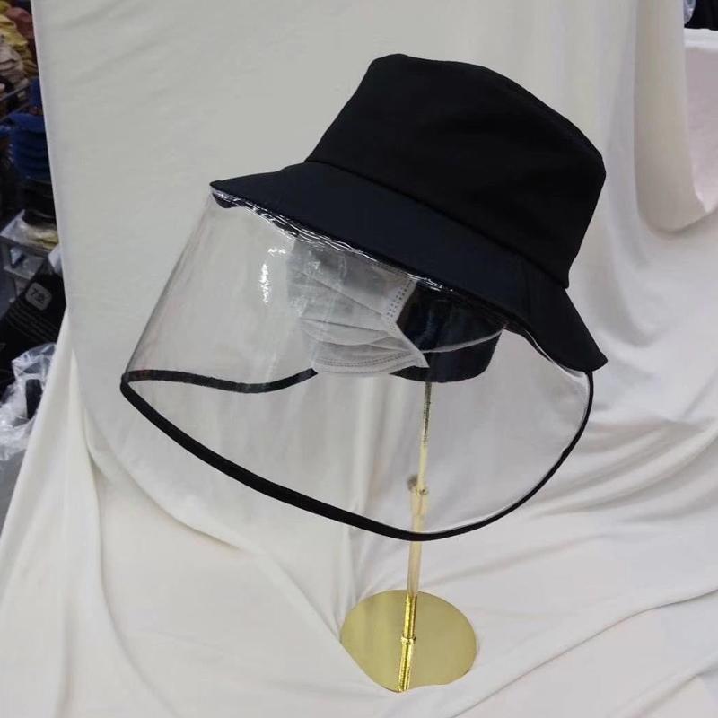 韩国新款防唾液防飞沫渔夫帽大檐盆帽带面罩遮阳防护挡脸男女通用