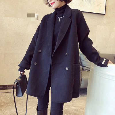 Double-sided cashmere wool small cotton jacket Hepburn high-end casual temperament long wear suit girl