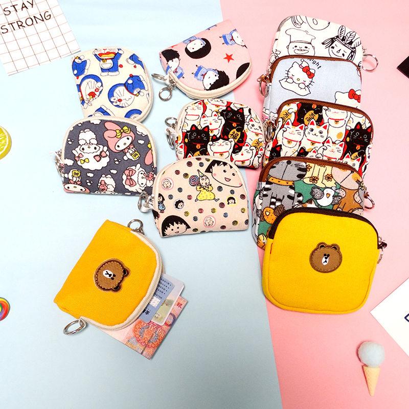 Ví nữ mini coin ví ngắn dễ thương túi vải canvas túi sinh viên Hàn Quốc túi nhỏ đồng tiền túi ly hợp - Ví / chủ thẻ