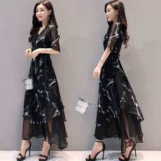 2018 new women's summer dress long irregular dress female black chiffon short sleeve v-neck dress Slim long skirt