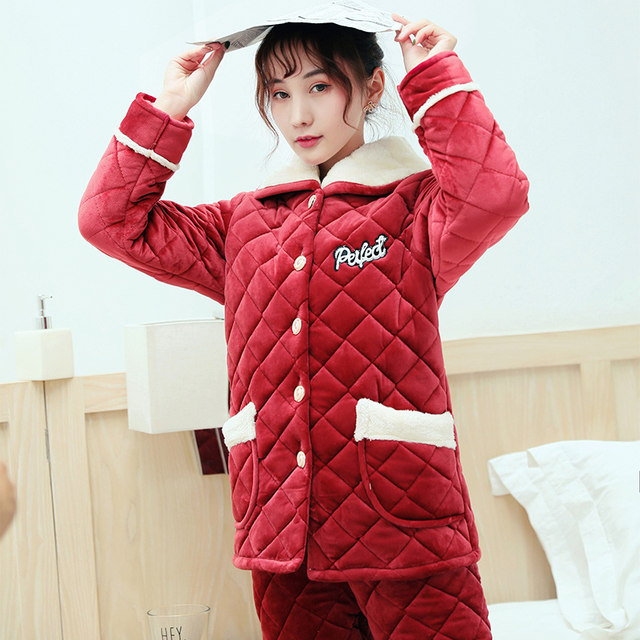 Female winter plus thick velvet pajamas coral velvet quilted three warm autumn and winter flannel tracksuit outerwear