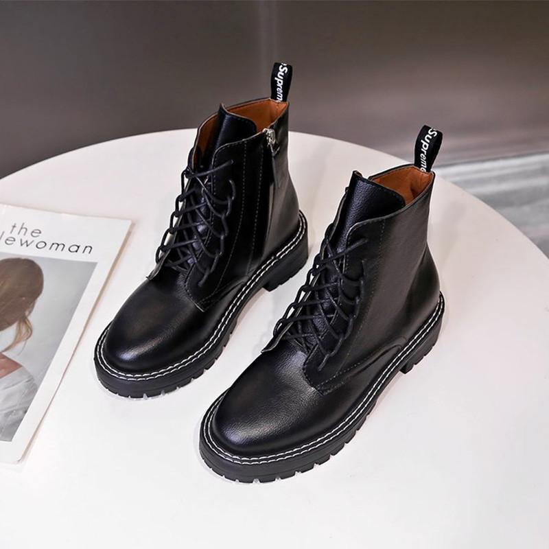 明星同款侧拉链马丁靴女2019夏款英伦风帅气百搭黑色厚底真皮短靴
