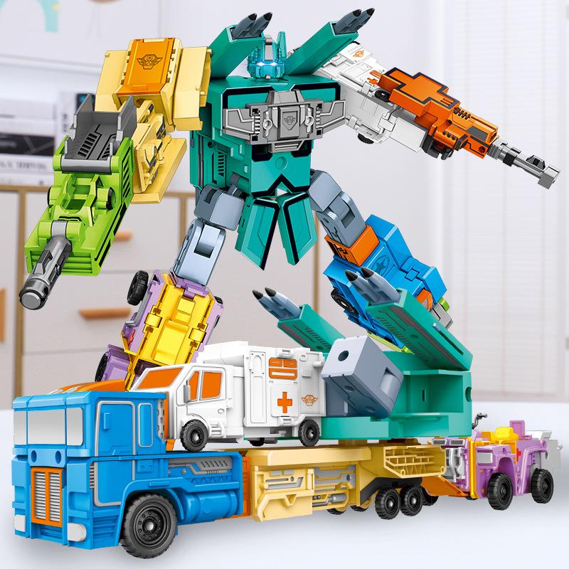 儿童数字玩具益智积木字母变形合体机器人套装金刚益智汽车人全套