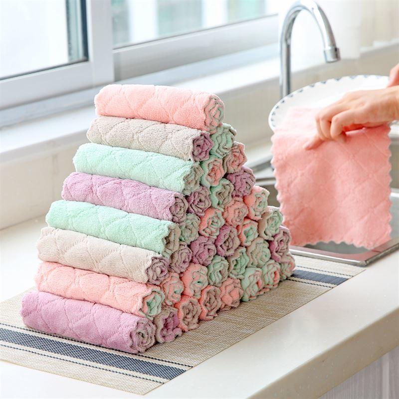 双面双色层菠萝纹珊瑚绒不沾油不掉毛懒人抹布洗碗布