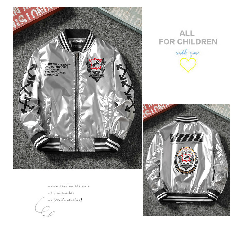Boys spring and autumn coat 2020 new chinese children's clothing Korean version of baseball shirt boy tide brand bright-faced jacket tide 52