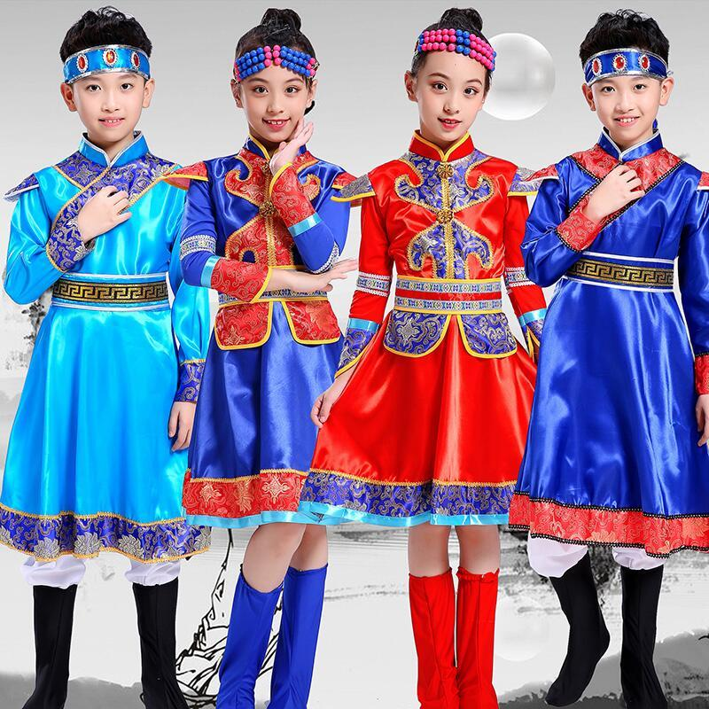 Girls Folk Dance Dress Ethnic minority costume children Mongolian Tibetan performance costume men and women's Mongolian robe dance performance