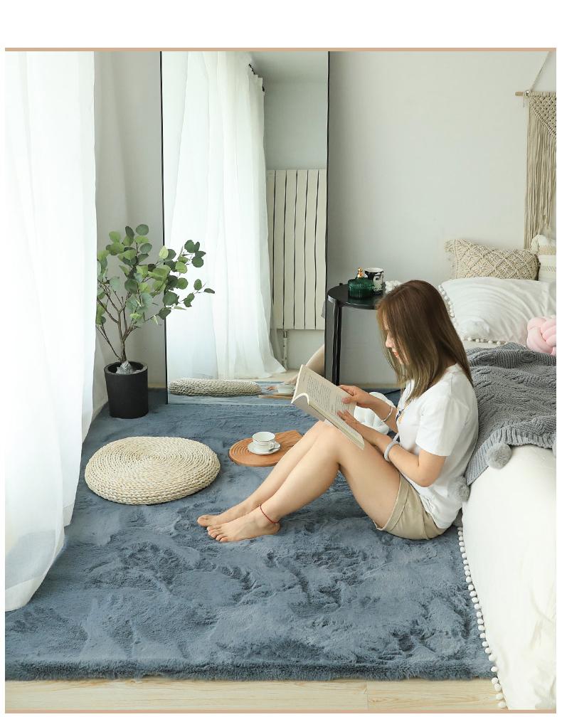 仿兔毛地毯卧室可睡可坐白色风床边少女客厅毛绒网红飘窗地垫详细照片