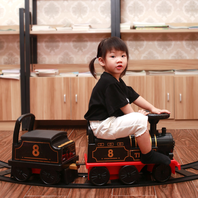 Shake sound retro style can sit on the electric small train set Children's rail car four-wheeled stroller for boys and girls toys