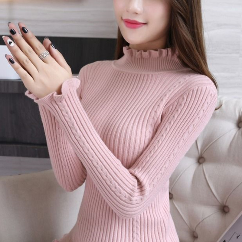 半高领毛衣女秋冬短款套头针织衫�上衣加厚打底衫