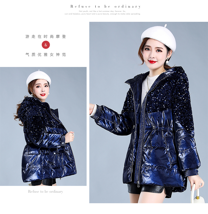 Bright-faced down cotton clothing women's long-term winter 2020 new thick warm hooded cotton wool cotton jacket tide 49 Online shopping Bangladesh