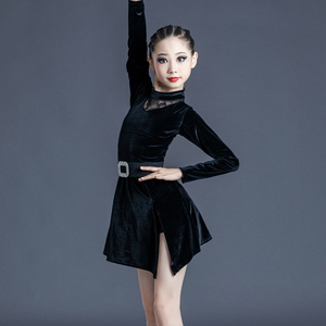 Girls Latin Dance Dresses Latin Dance Dress Girls and children high end season long sleeve training clothes children and women Latin dance dress competition performance clothes