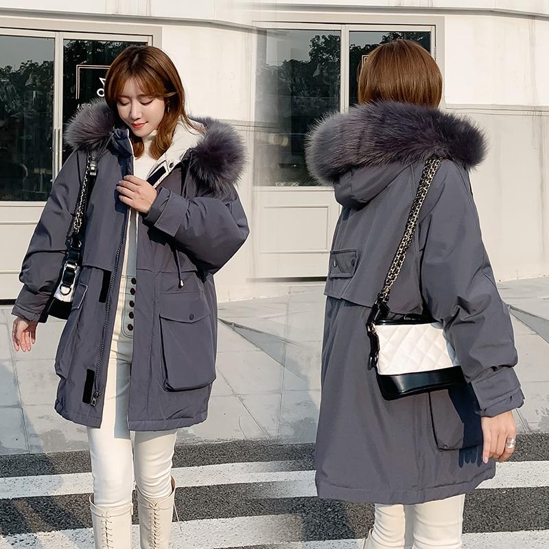 优莱慕冬季棉服女潮ins韩版宽松中长款学生超火大毛领棉衣外套
