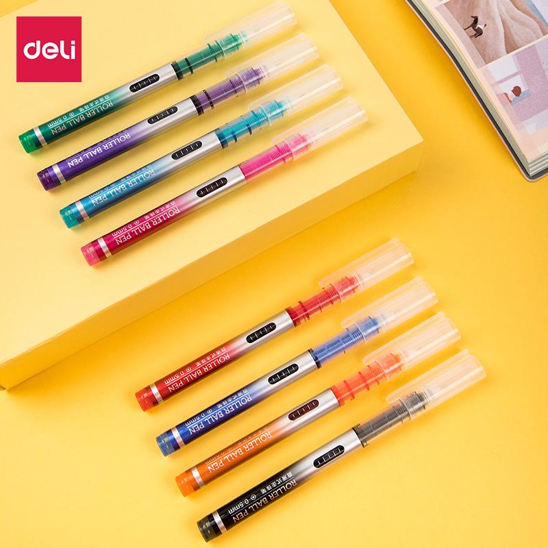 得力s855直液式走珠筆8支裝彩色中性筆速幹油墨針管型大容量學生考試書寫黑色0.5水筆手賬本專用彩筆套裝8色