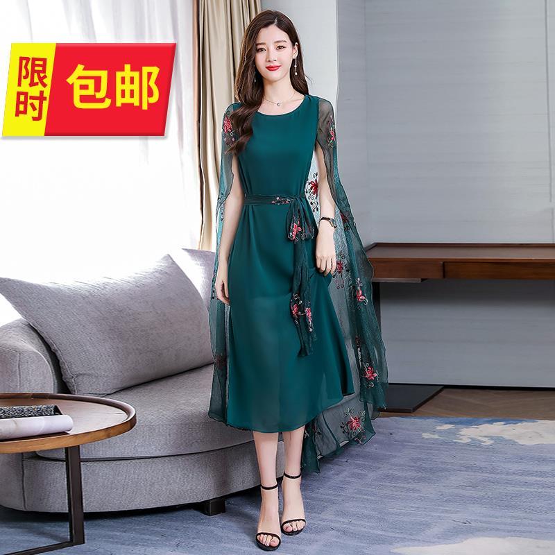 夏7季礼服件套a型大码4x时尚裙子开衫假两披肩雪纺a礼服连衣知性。