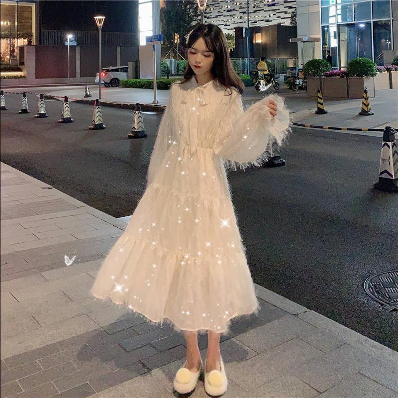 春秋韩版2020新款中长款收腰显瘦很仙的流苏喇叭长袖连衣裙女学生