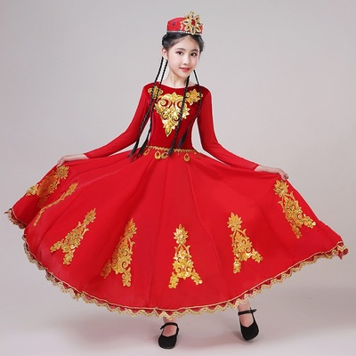 chinese Xinjiang dance performance dress red color Uygur dance costumes for girls belly dance dresses