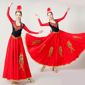 Chinese folk dance dress for women A study on the art of Uygur costume with 540 degree big swing skirt
