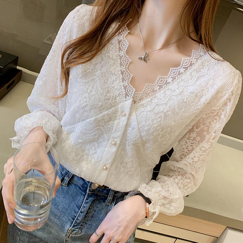 白色衬衫女设计感小众春季新款2021年蕾丝打底雪纺衫内搭上衣T恤