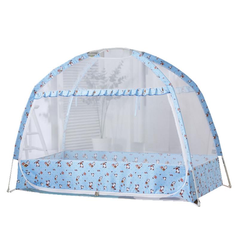 婴儿床蚊帐蒙古包儿童宝宝新生儿U型单开门蚊帐有底防蚊罩遮光