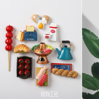 2 Free shipping Nordic ins gourmet food fridge magnet stereo 3D eggs, bread and coffee creative decorative magnetic stickers