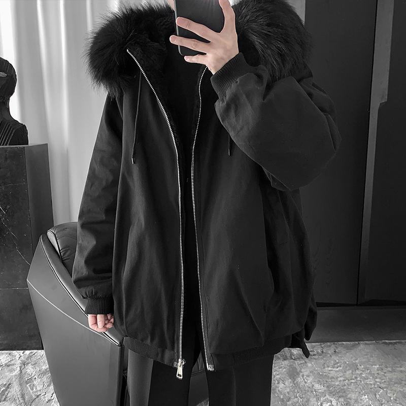 Áo khoác cotton mùa đông dày của Zijun cho nam Hàn Quốc lỏng lẻo hợp thời trang Tóc cổ áo trùm đầu Áo khoác cotton ngắn - Bông