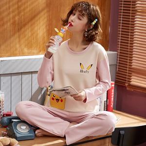 日系少女卡通动漫睡衣纯棉长袖长裤春秋休闲舒适家居服大码两件装