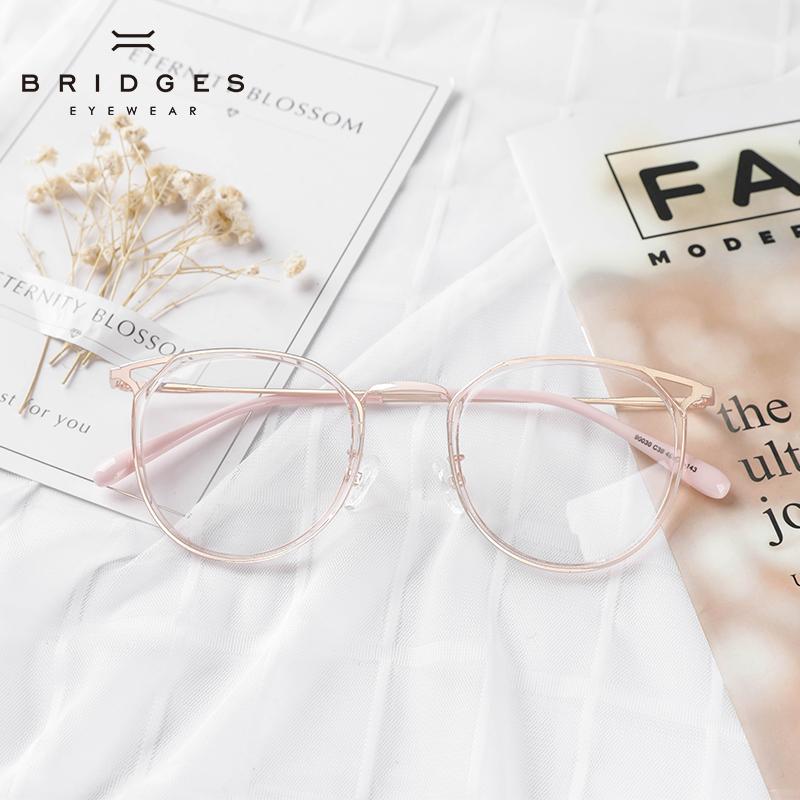 猫耳朵透明粉色眼镜女文艺a耳朵框复古韩版大框超轻平光防蓝光镜框