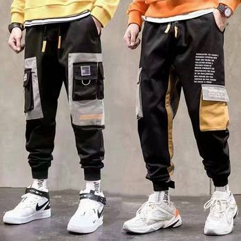 State influx of male hip-hop overalls tide brand new autumn and winter boys casual pants wide Song Halun nine points and feet male pants