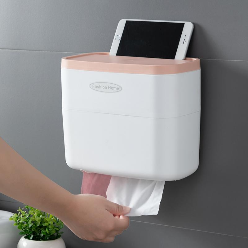 卫生间厕所纸巾盒创意免打孔防水置物壁挂式厕纸盒抽纸卷纸巾架筒-给呗网