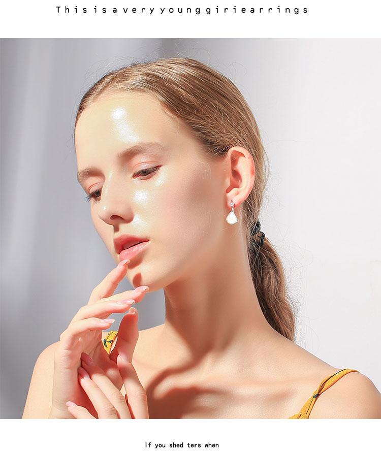 我是真的爱你刘涛同款耳钉母贝壳耳饰夹女高级感耳环2021年新款潮