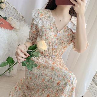 Кукла воротник цветочный платье женщина лето талия была тонкий темперамент фея юбка тендер ветер кружева подключать платье принцессы сын, цена 2236 руб