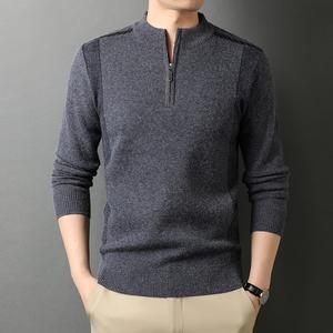 原沿男装半高领拉链加厚中老年针织毛衣爸爸装宽松羊毛衫