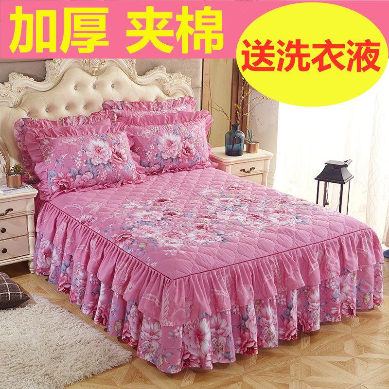 Váy ngủ bằng vải bông dày vào mùa thu và mùa đông, trải giường ba mảnh, váy giường đơn, trải giường, trải giường, bọc bảo vệ Simmons - Trang bị Covers